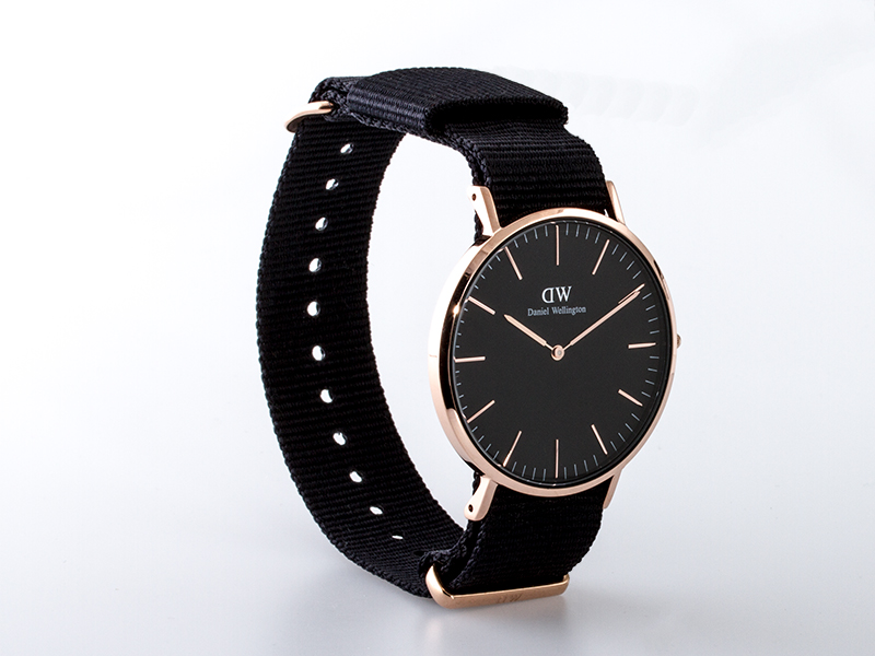 daniel wellington uhr classic cornwall ros 40mm schwarz. Black Bedroom Furniture Sets. Home Design Ideas